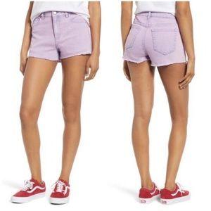 Tinsel Acid Wash Purple Hi Rise Denim Shorts